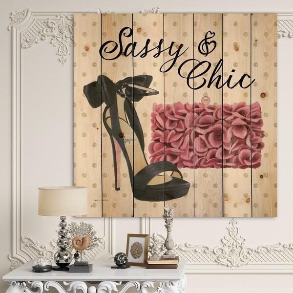 Designart 'Glam fashion High Heels II' Posh & Luxe Print on Natural Pine Wood - Black/Pink