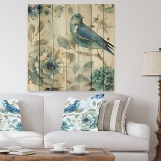 Designart 'Indigold Watercolor Lovely bird II' Farmhouse Print on Natural Pine Wood - Blue