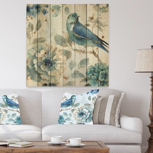 Designart 'Indigold Watercolor Lovely bird II' Farmhouse Print on Natural Pine Wood - Blue