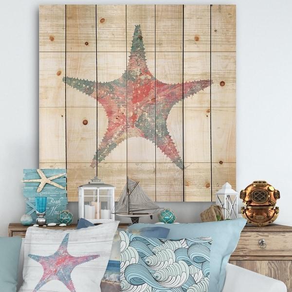 Designart 'Pink Starfish Ocean Life' Nautical & Coastal Print on Natural Pine Wood - Grey/Pink