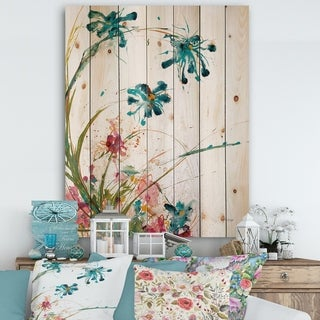 Designart 'Blue Abstract Blossoming Farmhouse Flowers' Modern Farmhouse Print on Natural Pine Wood - Multi-color
