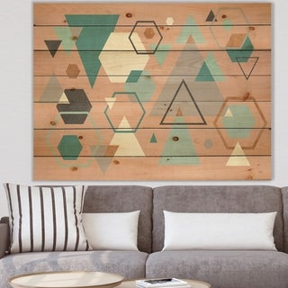Designart 'Geometric hexagons Pattern I' Transitional Print on Natural Pine Wood - Multi-color