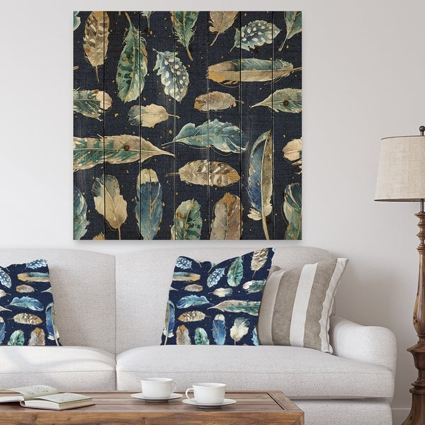 Designart 'Indigold metallic feathers Pattern' Floral Print on Natural Pine Wood - Blue