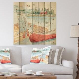 Designart 'Lake House Canoes III' Lake House Print on Natural Pine Wood - Green/Pink