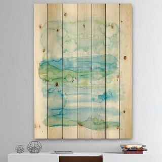 Designart 'Watercolor of Abstract Blue and Green' Modern Print on Natural Pine Wood - White