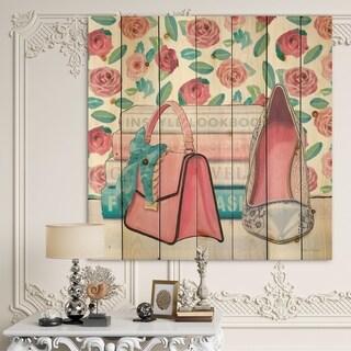 Designart 'Pink Fashion high heels I' Posh & Luxe Print on Natural Pine Wood - Pink/White