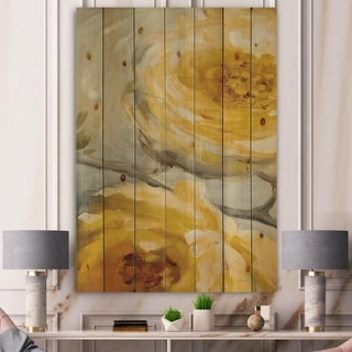 Designart 'Sunshine Yellow Flower III' Floral Print on Natural Pine Wood - Grey/Orange