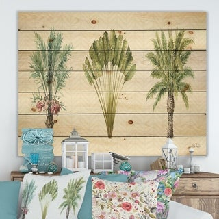 Designart 'Mixed Botanical Greens palms II' Farmhouse Print on Natural Pine Wood - Green