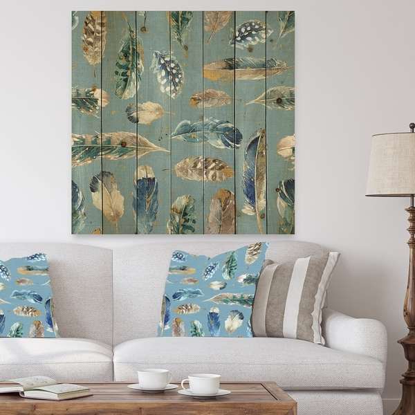 Designart 'Indigold Feathers Turquoise Pattern' Floral Print on Natural Pine Wood - Blue