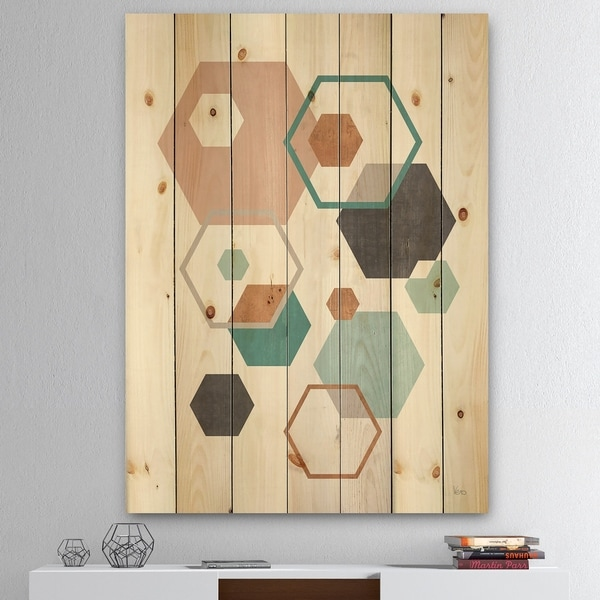 Designart 'Geometric hexagons Pattern VII' Transitional Print on Natural Pine Wood - Multi-color