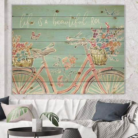 Designart 'Sparrow Spring III Crop' Traditional Print on Natural Pine Wood - Blue/Pink