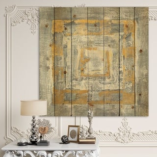 Designart 'Gold Glam on Grey Tapestry I' Transitional Print on Natural Pine Wood