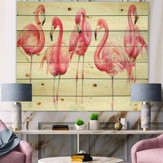 Designart 'Gracefully Pink Shabby flamingo' Farmhouse Print on Natural Pine Wood