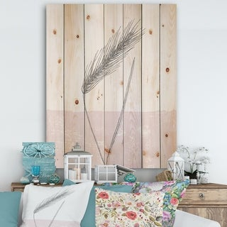 Designart 'Natural Element Farmhouse II' Cottage Print on Natural Pine Wood - Pink