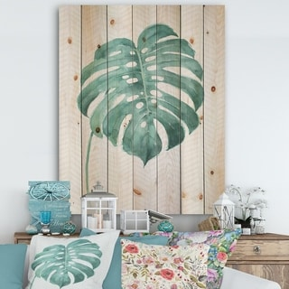 Designart 'Mixed Botanical Green Leaves VI' Cottage Print on Natural Pine Wood