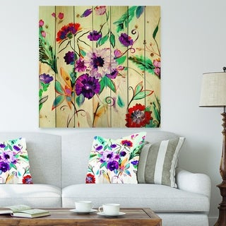 Designart 'Abstract Purple And Red Farmhouse Flowers' Traditional Print on Natural Pine Wood - Multi-color