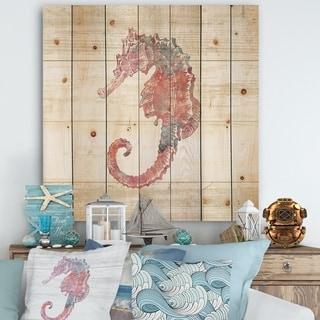 Designart 'Pink seahorses Ocean Life' Nautical & Coastal Print on Natural Pine Wood - Grey/Pink