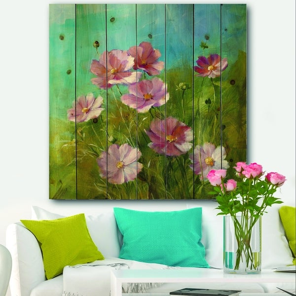 Designart 'Red Wildflowers on A Green Meadow' Traditional Print on Natural Pine Wood - Blue