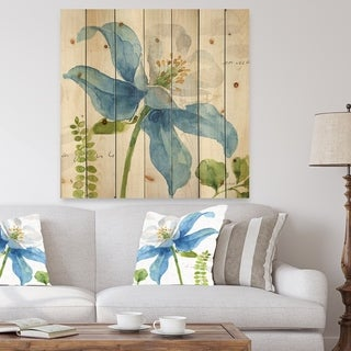 Designart 'Blue Columbine Wild Flower with Ferns' Cabin & Lodge Print on Natural Pine Wood - Blue/Green