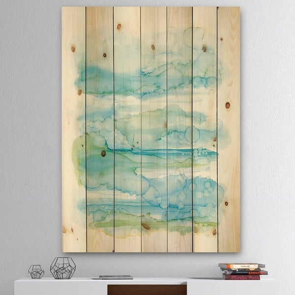 Designart 'Goache of Abstract Blue and Green' Modern Print on Natural Pine Wood - White