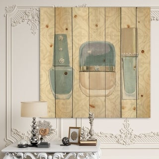 Designart 'Glam cosmetics Blue accessories' Fashion Print on Natural Pine Wood