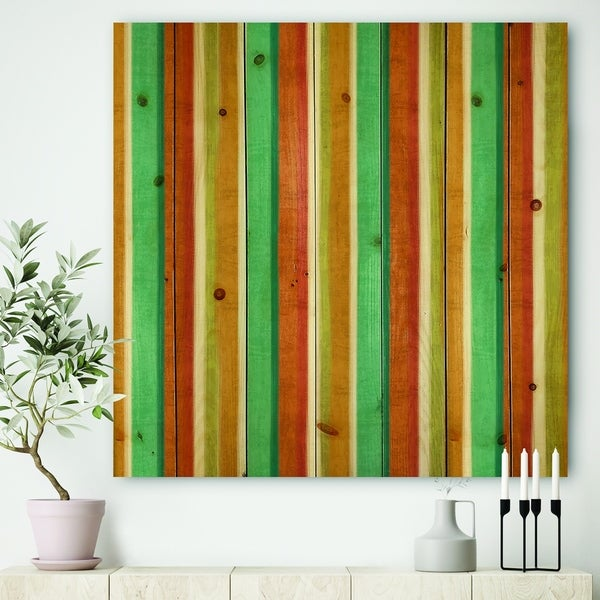 Designart 'Blue, Green and Orange Vertical Abstract Stripes' Mid-Century Modern Print on Natural Pine Wood - Multi-color