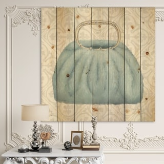 Designart 'Glam cosmetics Blue Bag' Posh & Luxe Print on Natural Pine Wood
