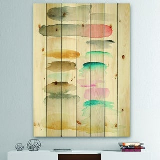 Designart 'Watercolor Geometric Swatch Element I' Mid-Century Modern Print on Natural Pine Wood - Multi-color