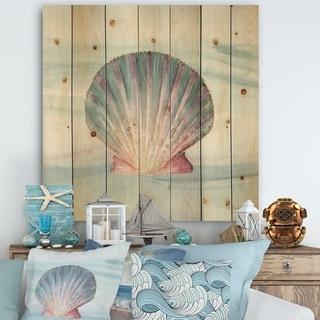 Designart 'Ocean Shell on Blue ' Nautical & Coastal Print on Natural Pine Wood - Purple