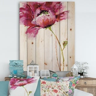 Designart 'Big Red Blossoms' Floral Print on Natural Pine Wood - Orange/Pink