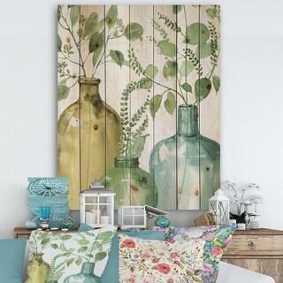 Designart 'Mixed Botanical Green Leaves IX' Cottage Print on Natural Pine Wood