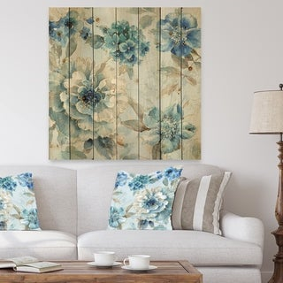 Designart 'Indigold Watercolor Lovely bird IV' Farmhouse Print on Natural Pine Wood - Blue
