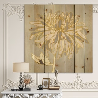Designart 'Gold Metallic Floral Garden I' Modern Glam Print on Natural Pine Wood - Grey