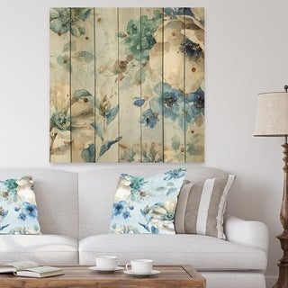 Designart 'Indigold Watercolor Lovely bird III' Farmhouse Print on Natural Pine Wood - Blue