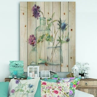 Designart 'Blossoms on Birch Cottage Bouquet II' Farmhouse Print on Natural Pine Wood - Blue/Purple