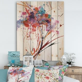 Designart 'Abstract Red Flowers' Traditional Print on Natural Pine Wood - Multi-color