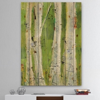 Designart 'Green Birch Forest' Traditional Print on Natural Pine Wood - Green