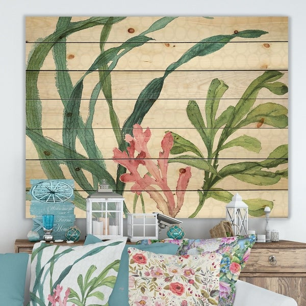 Designart 'Mixed Botanical Green Leaves IIII' Farmhouse Print on Natural Pine Wood - Pink