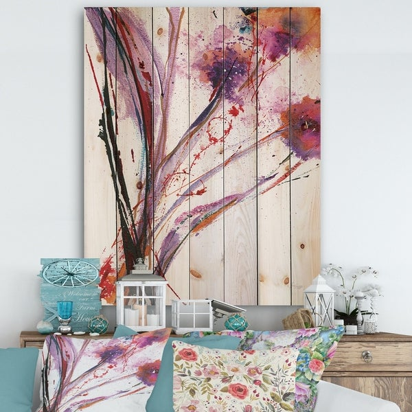 Designart 'Abstract Purple Flowers' Traditional Print on Natural Pine Wood - Multi-color