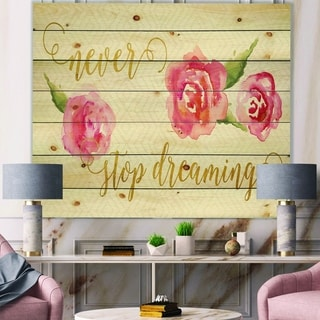 Designart 'Never Stop Dreaming Gold' Shabby Chic Print on Natural Pine Wood - Red