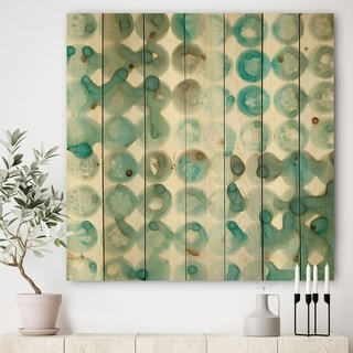 Designart 'Turquoise Watercolor geometrical I' Modern & Transitional Print on Natural Pine Wood - Blue/Brown
