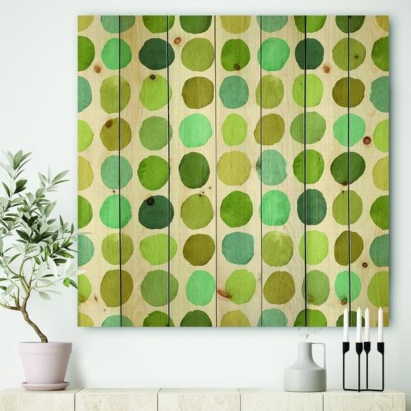 Designart 'geometric Green Circle I' Mid-Century Modern Transitional Print on Natural Pine Wood - Blue