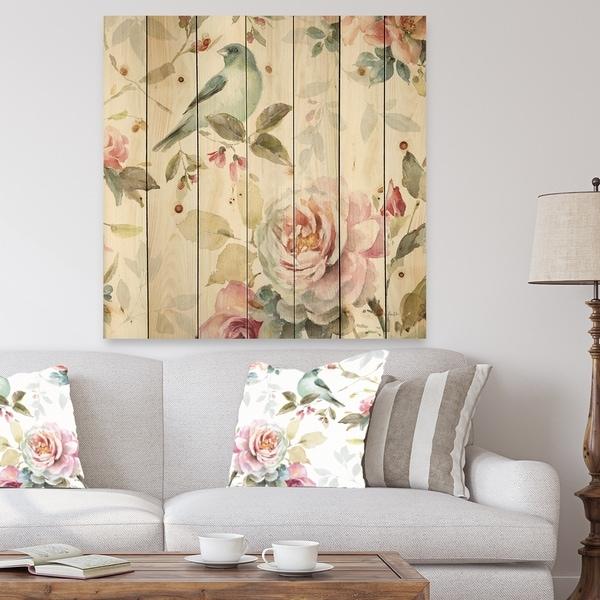 Designart 'Beautiful Bird Romance II' Traditional Print on Natural Pine Wood - Multi-color