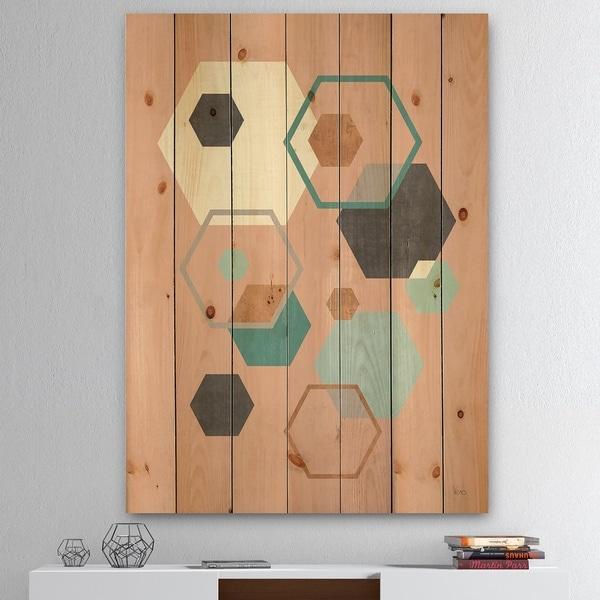 Designart 'Geometric hexagons Pattern II' Transitional Print on Natural Pine Wood - Multi-color