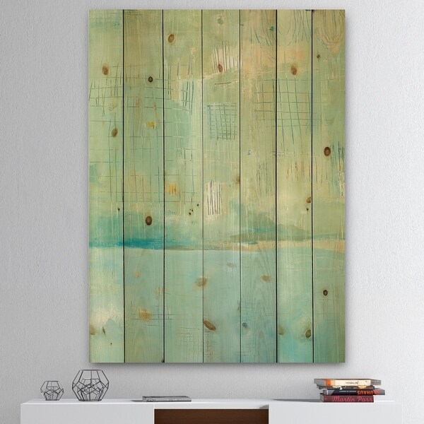 Designart 'Dreaming of the Shore I' Nautical & Coastal Print on Natural Pine Wood - Blue/Green