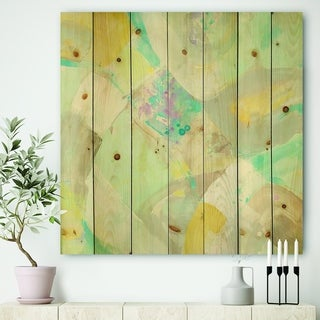 Designart 'Abstract Compositions of Pastel Blue and Green' Modern & Contemporary Print on Natural Pine Wood