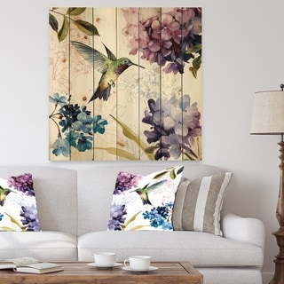 Designart 'Spring Nectar Square II' Traditional Print on Natural Pine Wood - Green/Purple