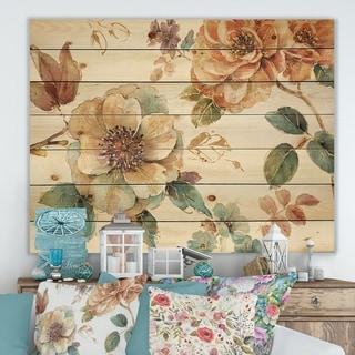 Designart 'Orange and Cream Cottage Flowers Twig' Traditional Print on Natural Pine Wood - Multi-color