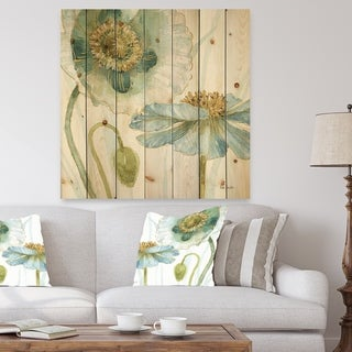 Designart 'My Greenhouse Cottage Flowers II' Traditional Print on Natural Pine Wood - Blue