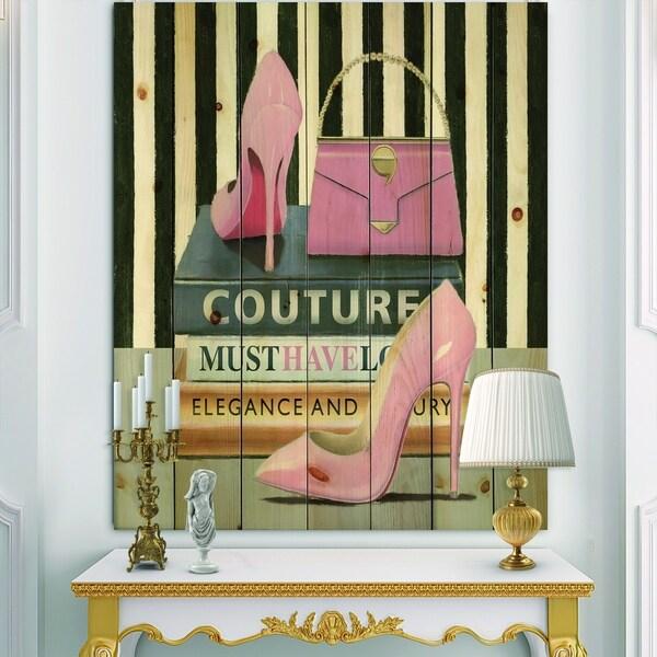 Designart 'Glam fashion High Heels VII' Posh & Luxe Print on Natural Pine Wood - Black/Pink